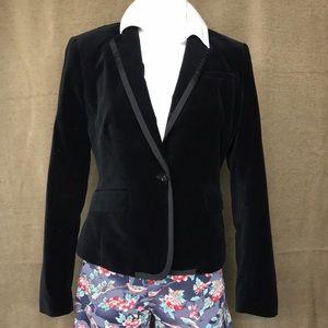 Black velour velvet blazer from Banana Republic